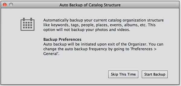 Backup or restore catalogs   Elements OrganizerElements Organizer