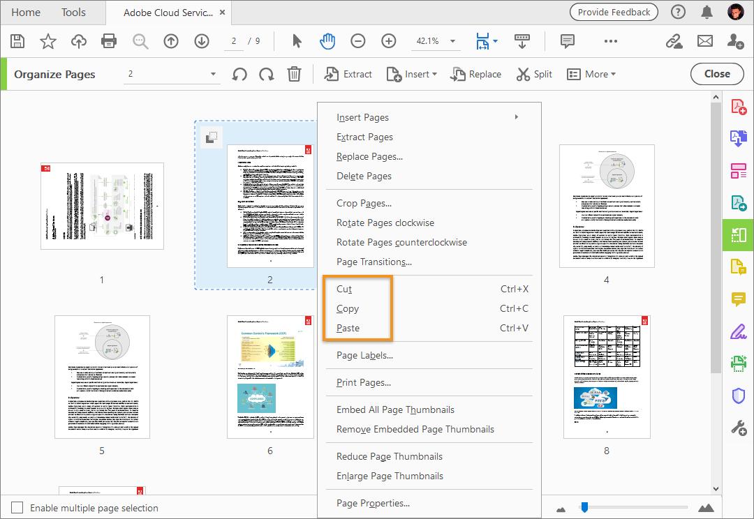 تدوير صفحات ملف Pdf ونقلها وحذفها وإعادة ترقيمها في Adobe Acrobat