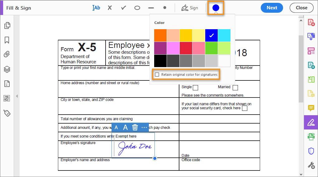 اختيار ألوان أدوات Fill & Sign