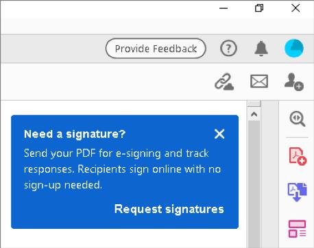 التلميح السياقي لطلب التوقيعات