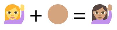 دمج الرموز ذات الشخص الواحد مع ألوان البشرة