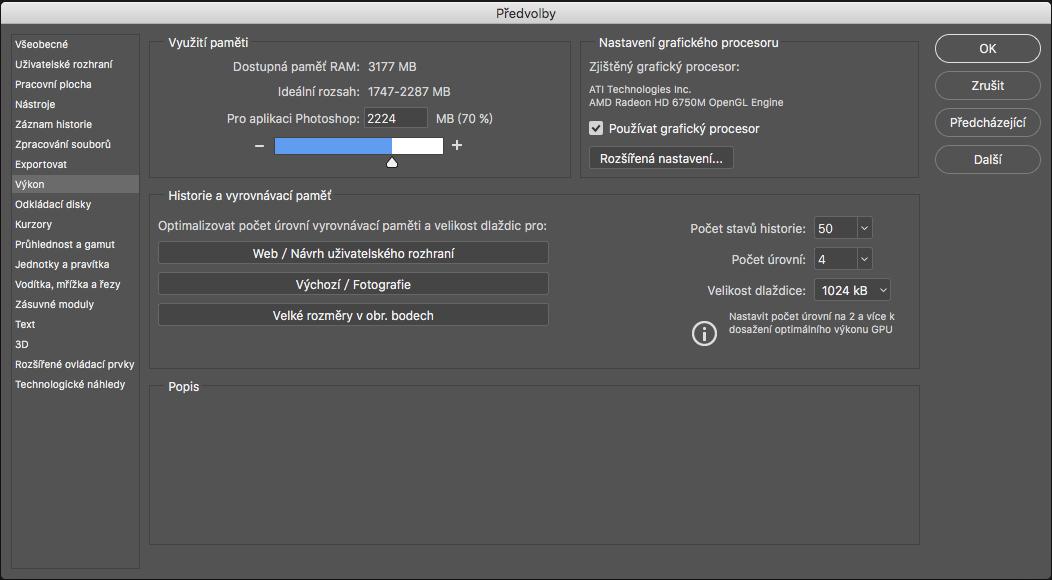 Předvolby aplikace Photoshop týkající se výkonu b9c95bdf26
