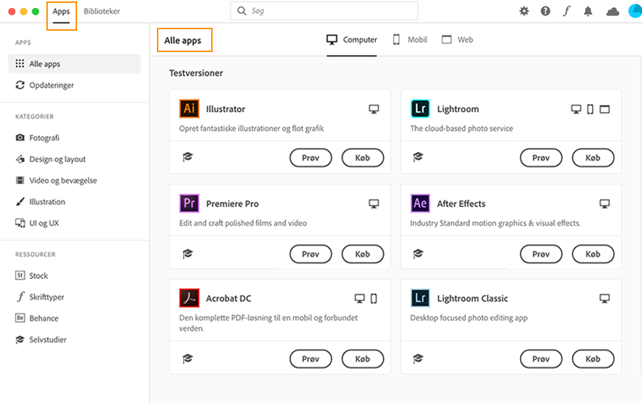 Download testversioner af Creative Cloud-apps