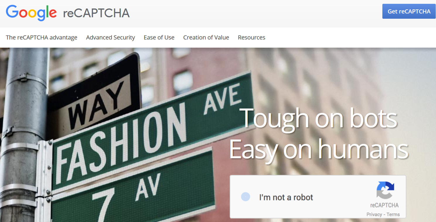 Administrationskonsollen for Google reCAPTCHA