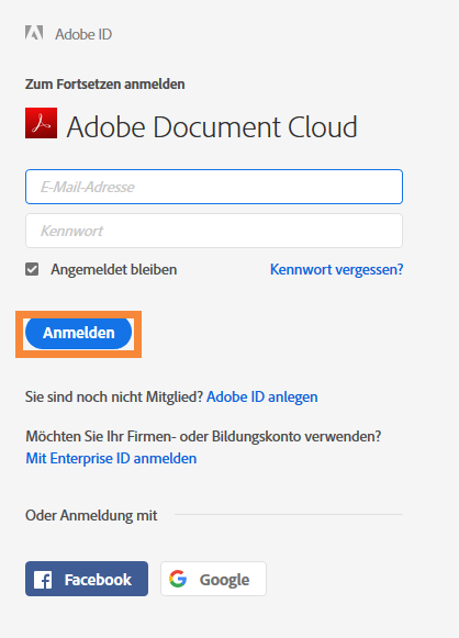 Bei Adobe Document Cloud anmelden