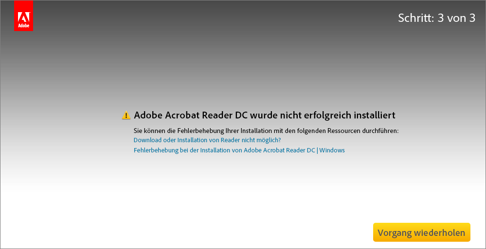 Fehler bei der Installation vom Acrobat Reader Download Center