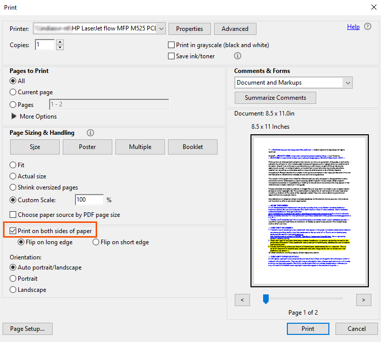Doppelseitiges Drucken | Adobe Acrobat, Reader DC