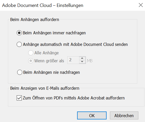 Einstellungen zu Adobe Document Cloud