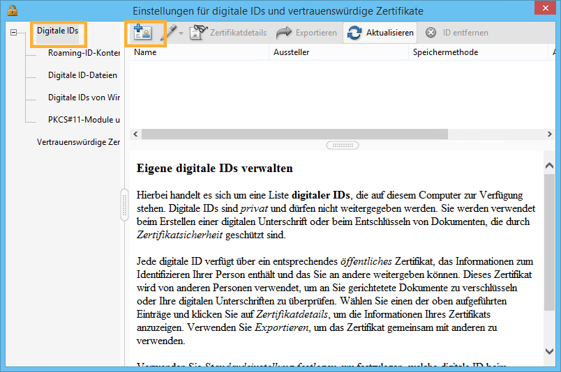 Digitale IDs in Acrobat