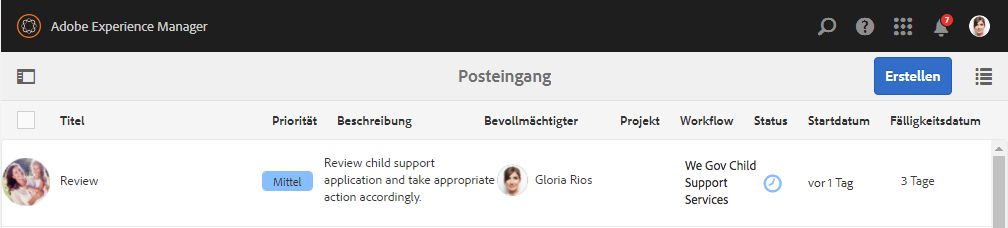 Glorias Posteingang auf der We.Gov-Referenzwebsite