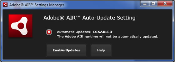 Adobe AIR-Einstellungsmanager
