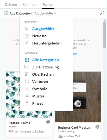 elemente uber das menu market filtern