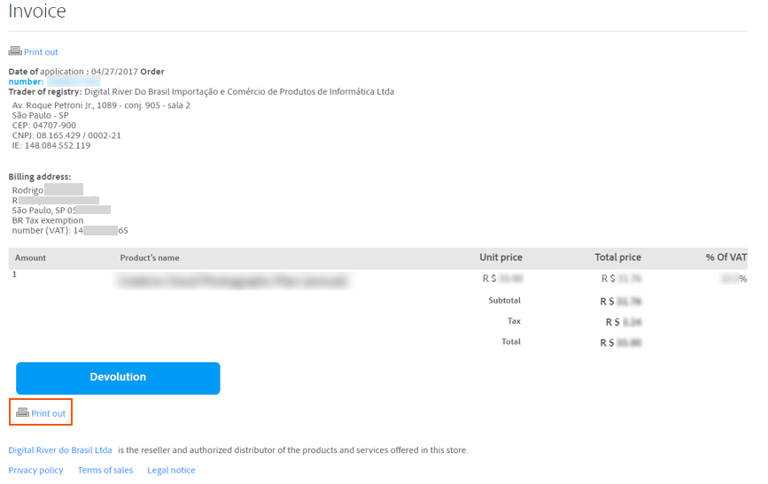Kopie der Rechnung für Ihren Kauf bei Adobe drucken