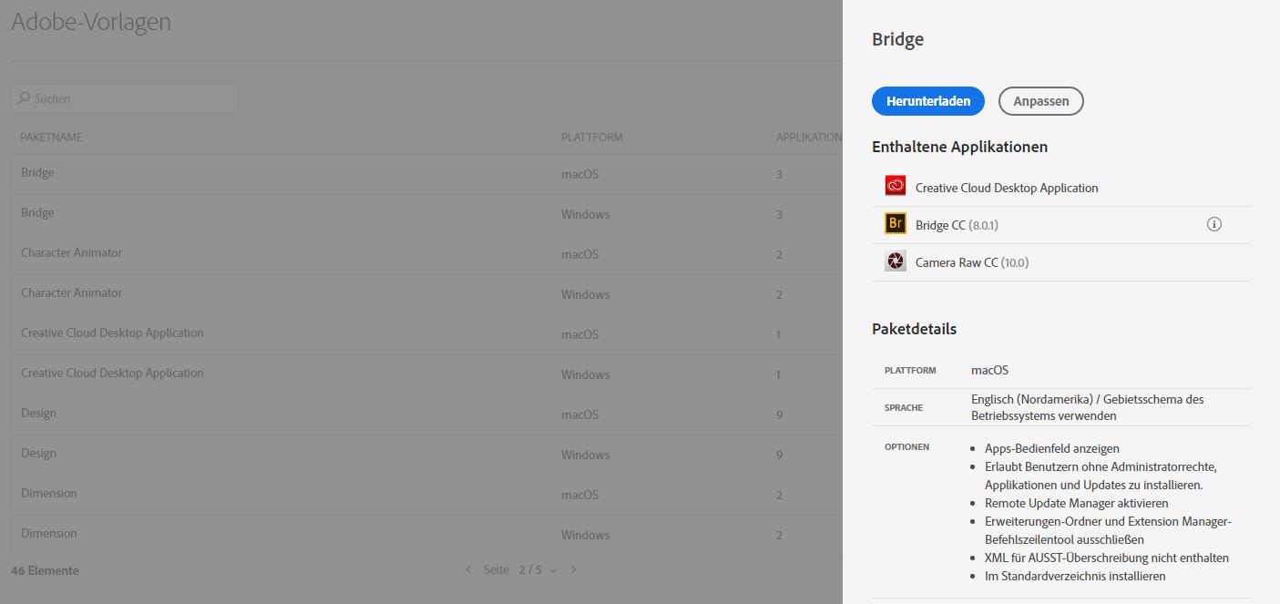 Adobe-Vorlagen für Pakete