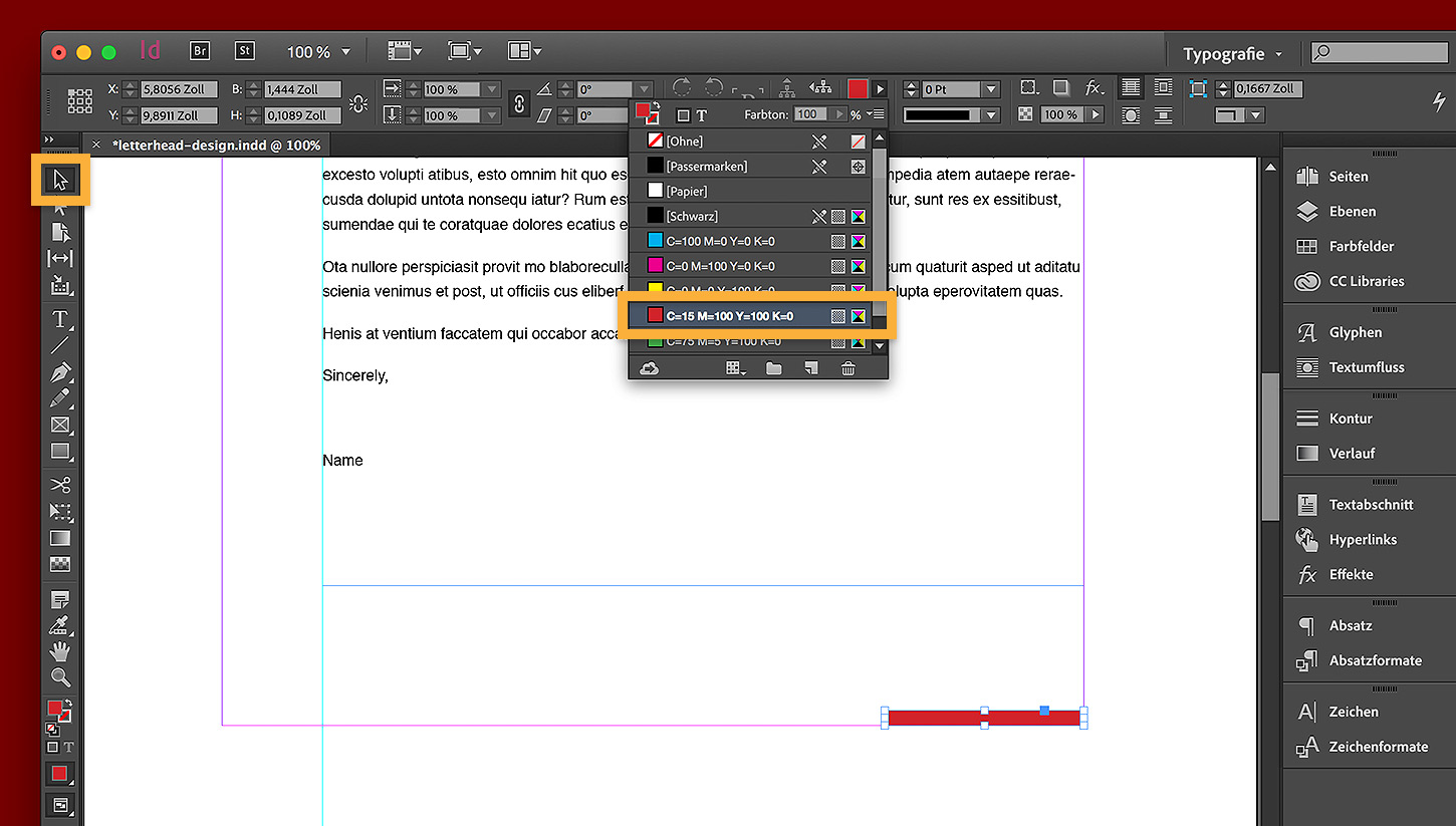 Briefkopf In Indesign Gestalten Adobe Indesign Cc übungen