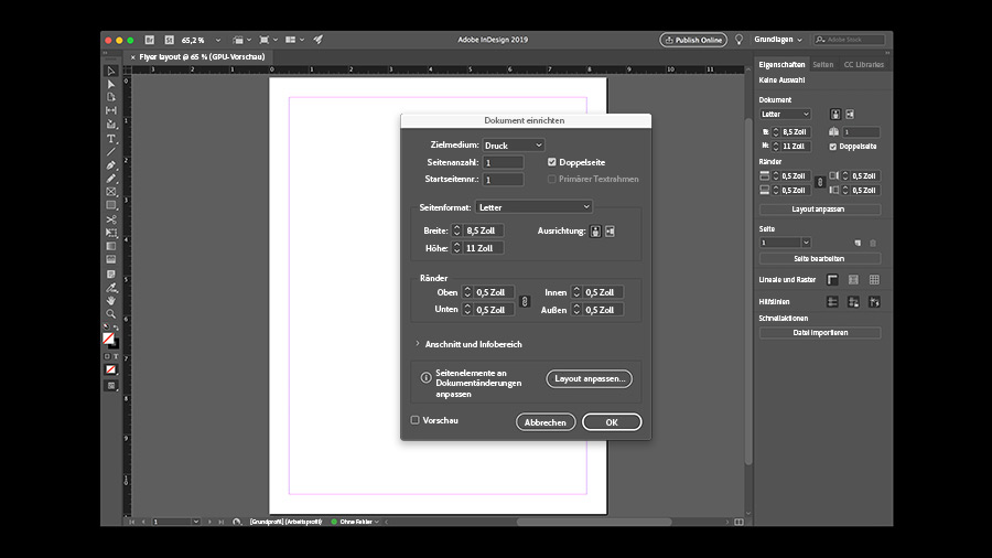 Neues Dokument In Indesign Erstellen Adobe Indesign Tutorials
