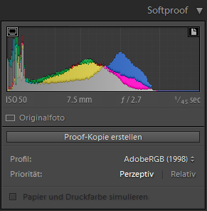 Softproof-Optionen im Entwicklungsmodul in Lightroom Classic CC