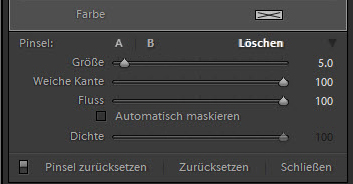 Filterpinseleinstellungen in Lightroom