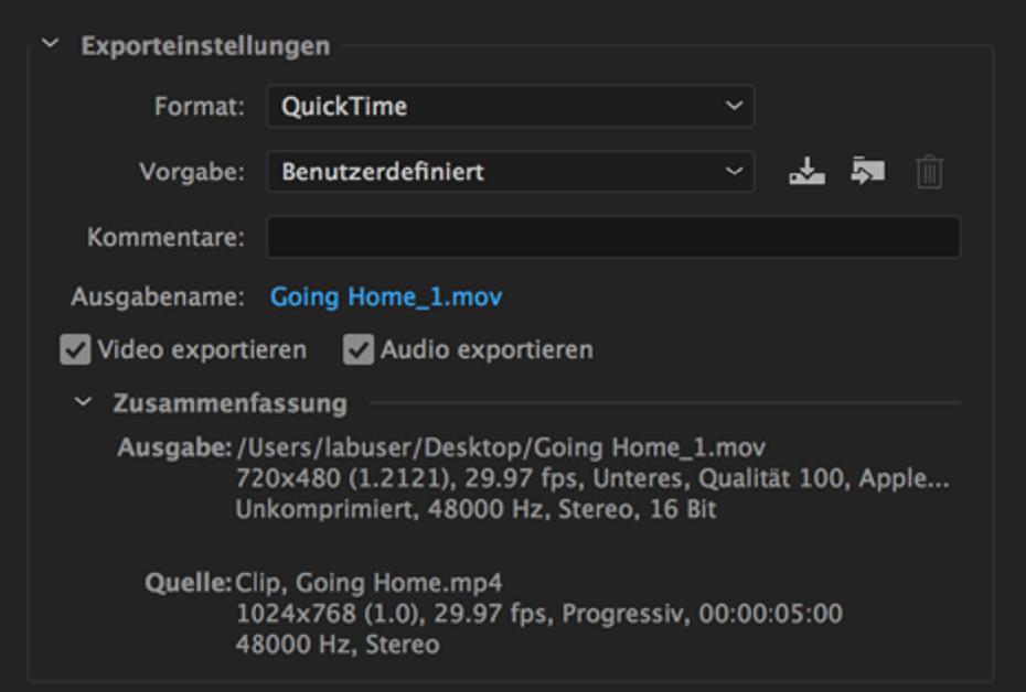 Exporteinstellungen-Referenz für Adobe Media Encoder