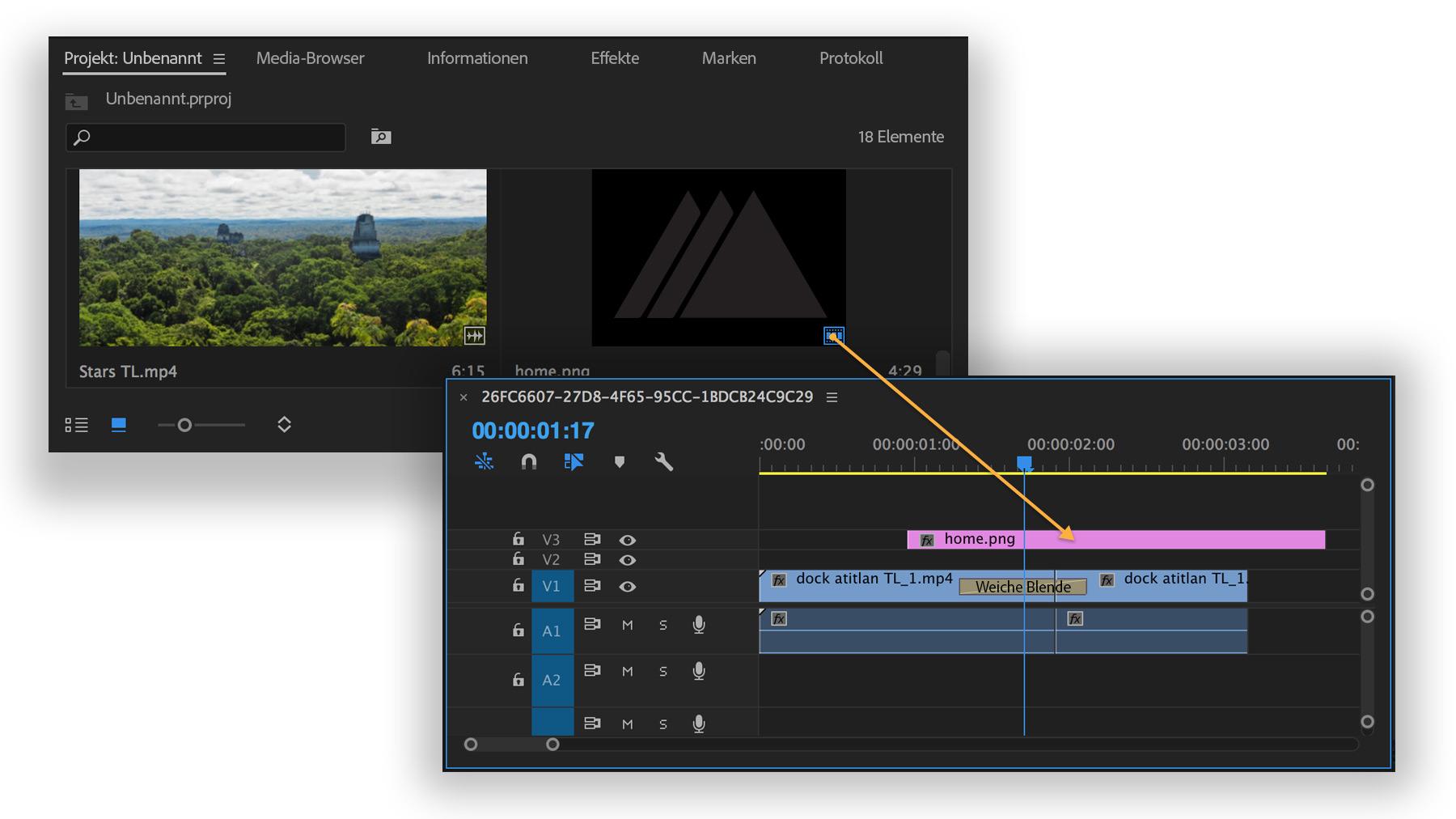 Titel und Grafiken zu Videos hinzufügen | Adobe Premiere Pro CC-Übungen