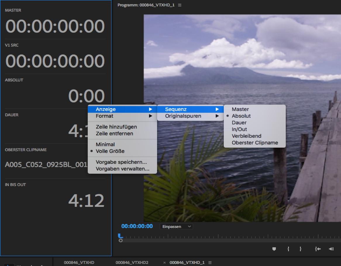Arbeiten mit Timecode in Premiere Pro