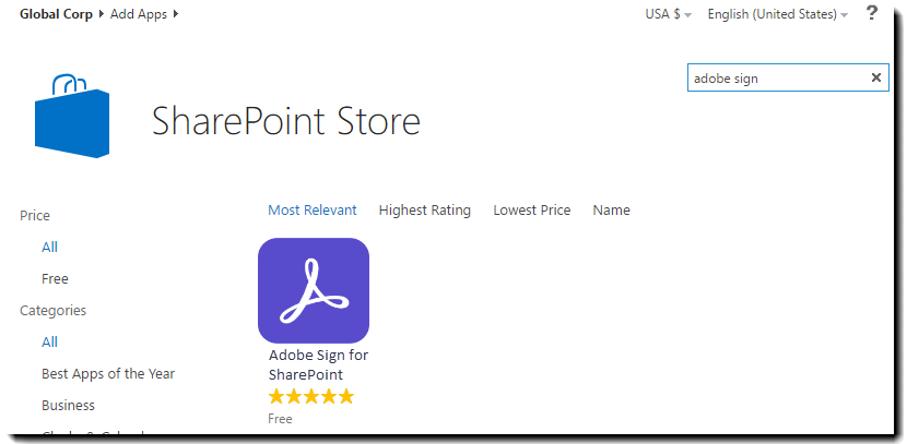 Adobe Sign im Store