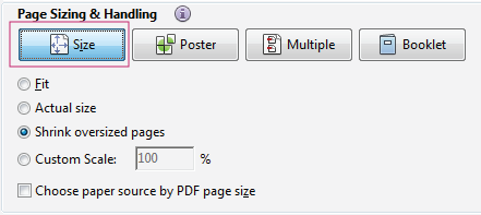 Page size options