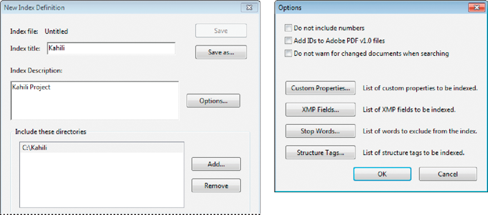 "Dialog boxes in <span class=""uicontrol"">Acrobat Pro</span> for the index-creation process"