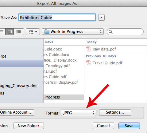 Choose the format that you want Acrobat to save the exported images in