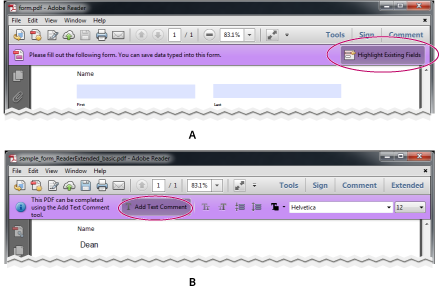 Fillable forms in Reader XI