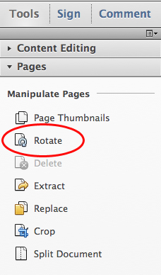 Choose Tools, Pages, Rotate