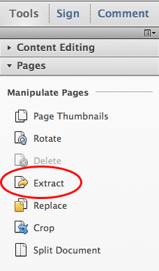 Choose Tools, Pages, Extract