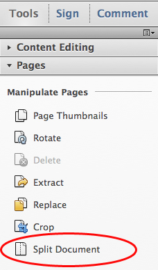 Choose Tools, Pages, Split Document