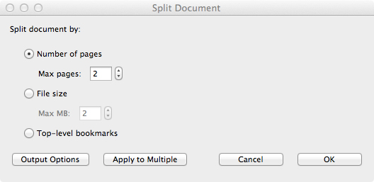 Split document options