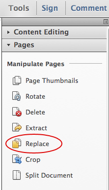 Choose Tools, Pages, Replace