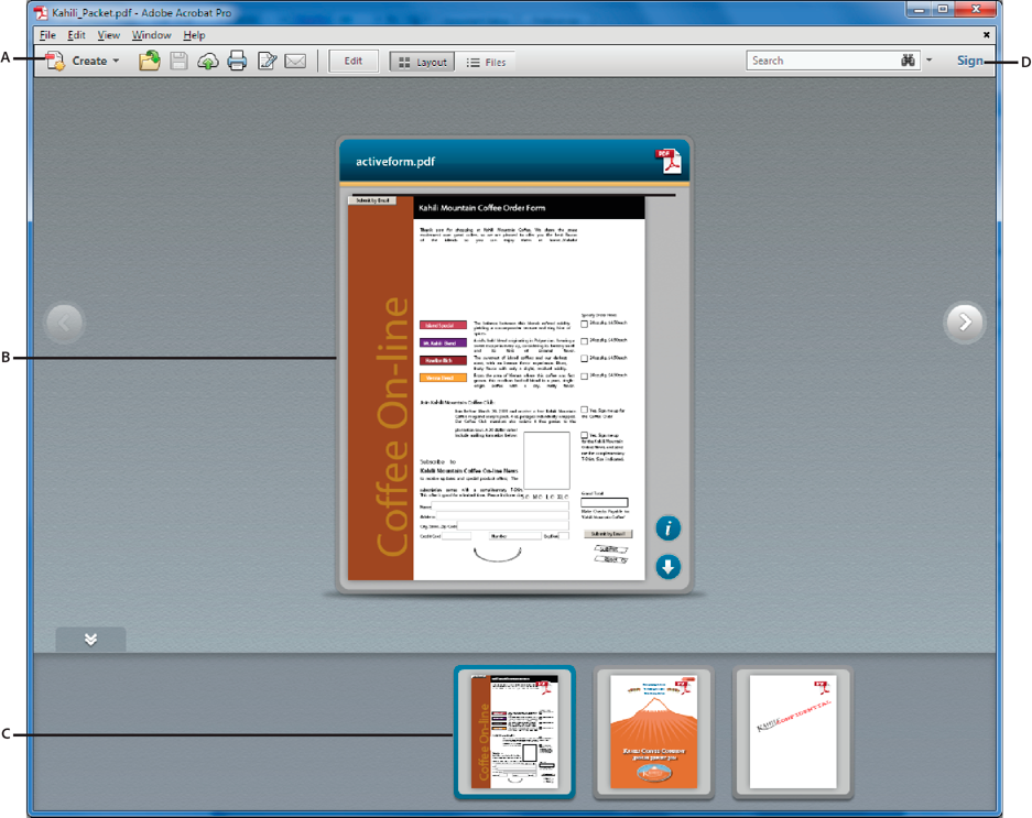 PDF Portfolio window in Acrobat Standard