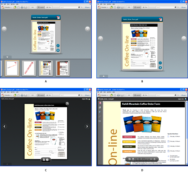 Viewing a PDF Portfolio in different Preview modes