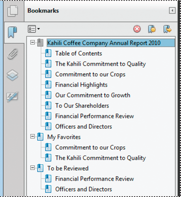 Bookmarks act as a table of contents for some PDFs