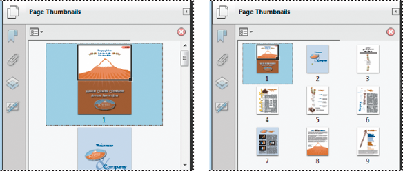 Resize page thumbnails