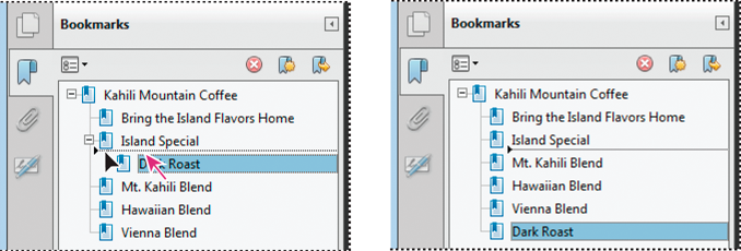 Moving a bookmark out of its nested position (left), and the result (right)