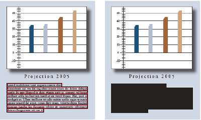 Text marked for redaction (left) and redacted (right)
