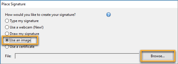 Select your signature file