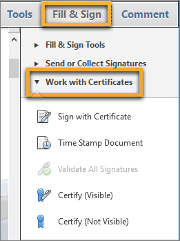 Work with certificates