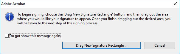 Draw a new signature rectangle