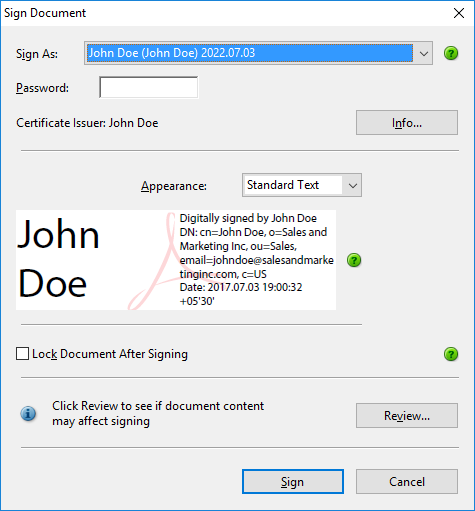 Sign document with your default digital ID