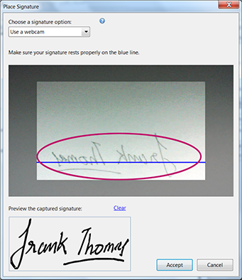 Capture signature image with a webcam