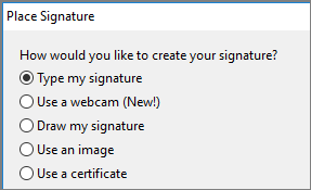 Choose a Signature option