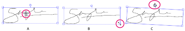 Move, resize, or rotate signature
