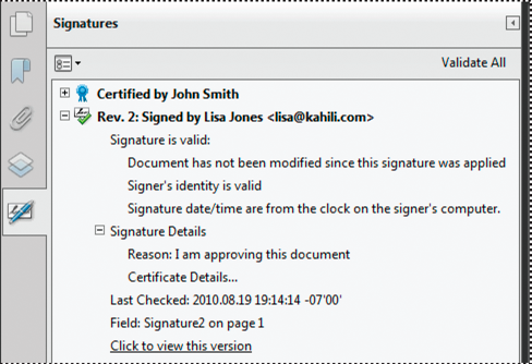 Verify signatures in the Signatures panel