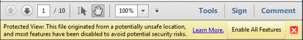 Document message bar for a security alert